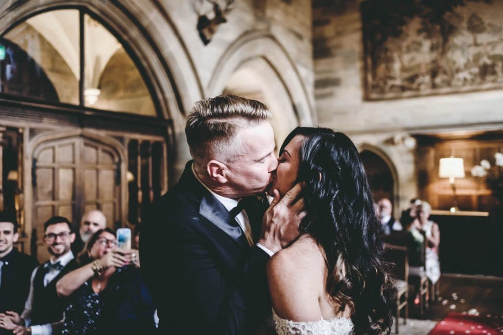 bride and groom first kiss waterford castle wedding